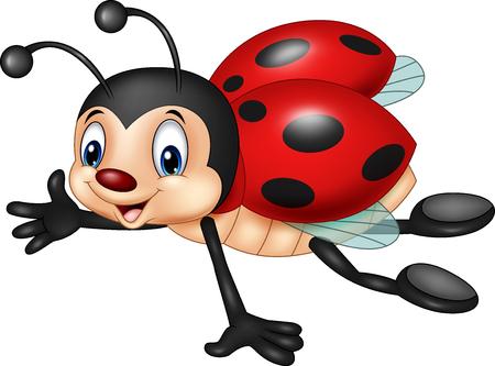 Vector illustration of Cartoon ladybug flying