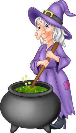 Vector illustration of Cartoon old witch preparing potion