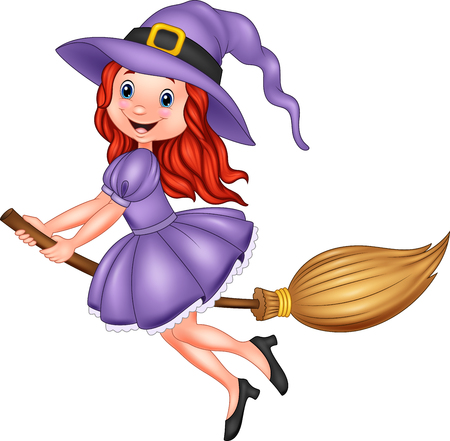 Vector illustration of Cartoon young witch flying with a broom Illustration