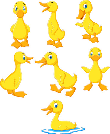Cartoon baby duck collection set Stock Illustratie