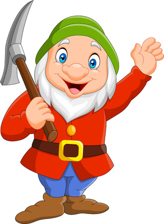 Happy dwarf miner isolated on white background