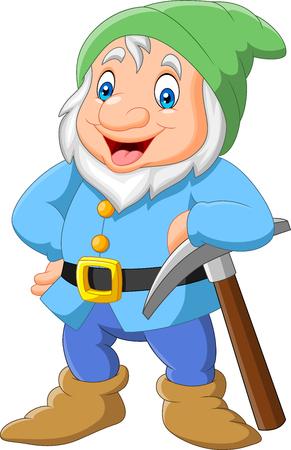 Happy dwarf miner isolated on white background