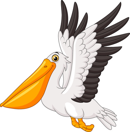 Cartoon pelican flying isolated on white background Illustration