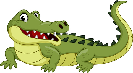 Cartoon crocodile isolated on white background