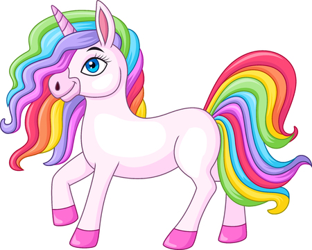 Cartoon rainbow unicorn horse