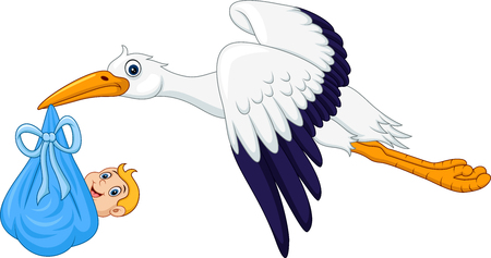 Cartoon stork carrying baby Stock Illustratie