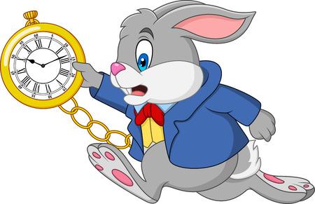 Cartoon rabbit holding watch