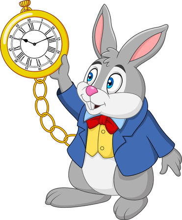 Cartoon rabbit holding watch