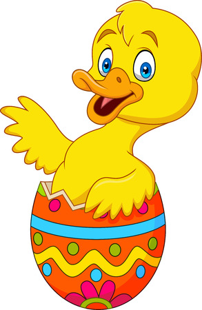 Cartoon duckling coming out of an Easter egg