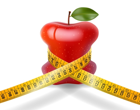 Dieting concept redapple with measuring tape on white background