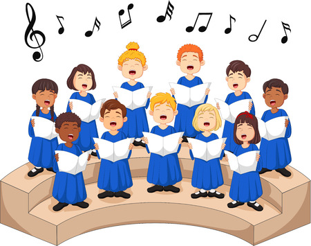 Choir girls and boys singing a song.