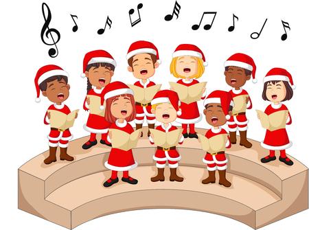 Coro de niñas y niños cantando una canción. Ilustración de vector