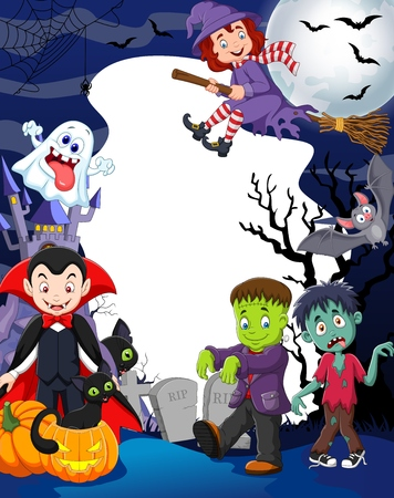 Cartoon kids with Halloween costume