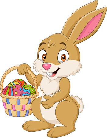 Cartoon funny rabbit holding Easter basket
