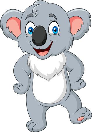 Cartoon little koala posing