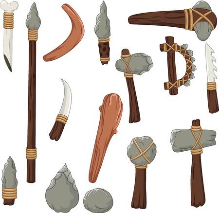 Stel instrumenten in van de prehistorische mens