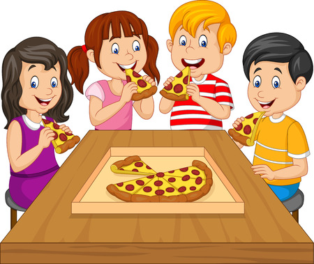 Cartoon kids eating pizza together