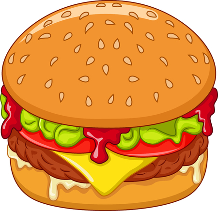 Cartoon burger isolated on white background