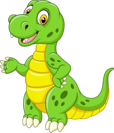 Cartoon funny green dinosaur Illustration
