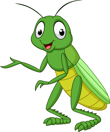 illustration of Cartoon grasshopper isolated on white background
