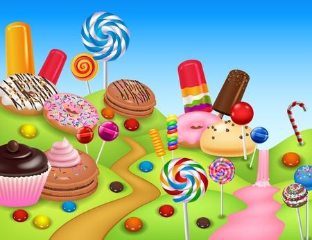 Illustration von Sweet Candyland mit Cupcake, Eis, Donut, Lutscher, Pfannkuchen und Zuckerstange