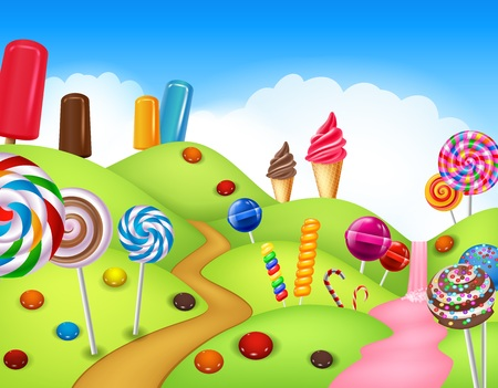 illustration of Beautiful candyland with cupcake,ice cream, lollipop and candy cane 일러스트