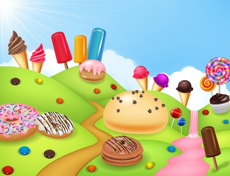illustration of Sweet candyland with cupcake, ice cream, donut, and lollipop 일러스트