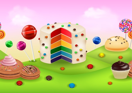Illustration of Fantasy candyland with dessrts and sweets