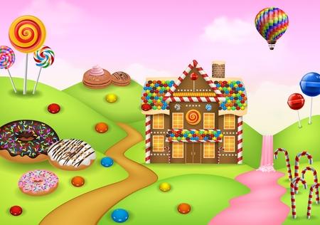 Fantasy sweet candyland Illusztráció