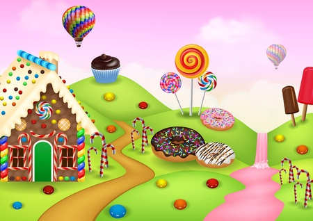 illustration of Cartoon sweet city land Иллюстрация