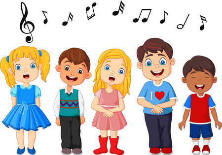 Cartoon group of children singing in the school choir