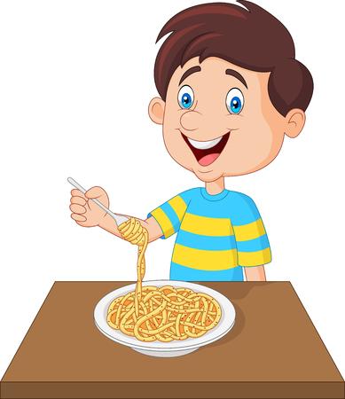 Little boy eating spaghetti