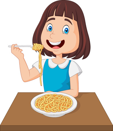 Little girl eating spaghetti Banque d'images - 102171884