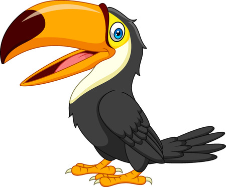 Cartoon toucan isolated on white background Illustration
