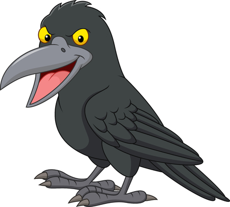 Cartoon crow isolated on white background