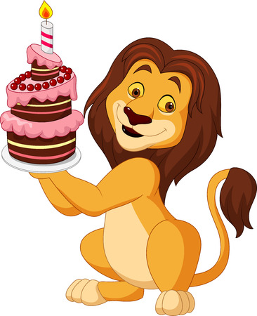 Cartoon lion holding birthday cake 일러스트
