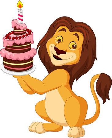 Cartoon lion holding birthday cake Illustration