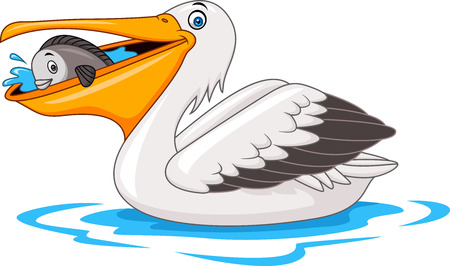 Cartoon pelican eating fish