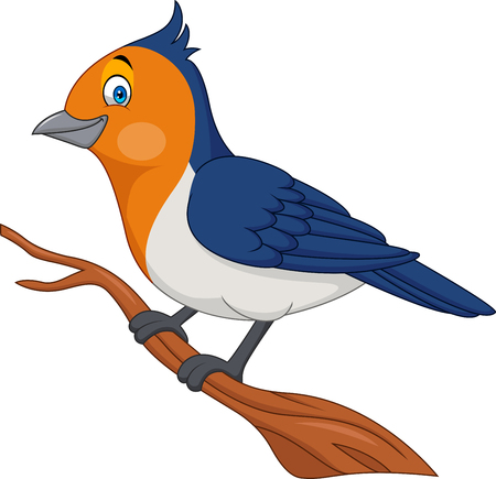 Cartoon bird on a tree branch Stock Illustratie