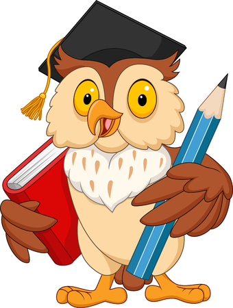 Cartoon owl holding pencil and book Vectores