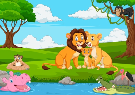 Cartoon lion family in the jungle