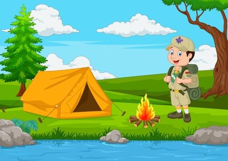 Cartoon Scout mit Zelt und Feuer