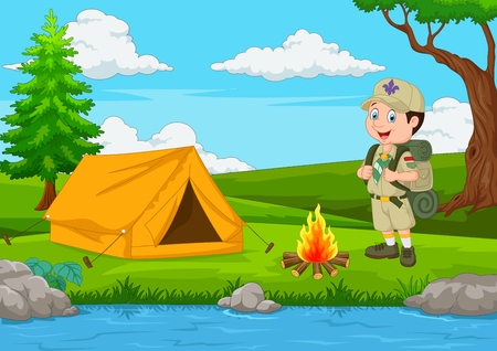 Cartoon scout with tent and fire Illustration