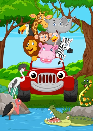 Cartoon wild animal riding a red car in the jungle Standard-Bild - 102171195