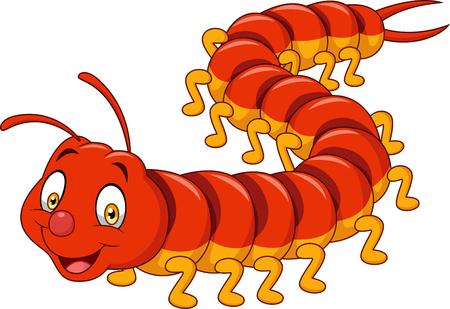 Cartoon centipede isolated on white background Illustration