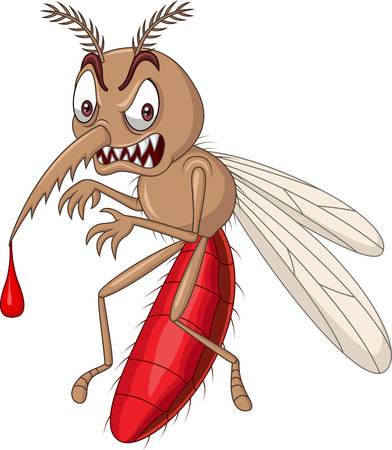 Cartoon angry mosquito isolated on white background Illustration