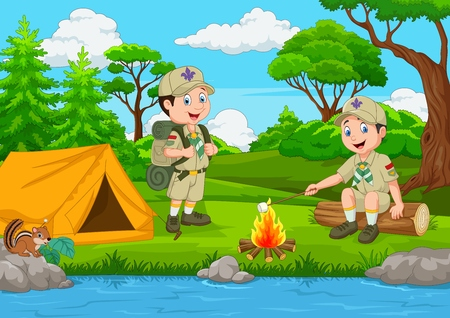 Cartoon scout with tent and camp fire Çizim