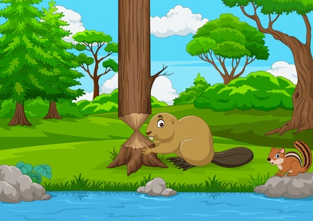 Cartoon beaver cutting a tree in the forest