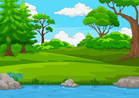 Scena leśna z wieloma drzewami i ilustracją rzeki