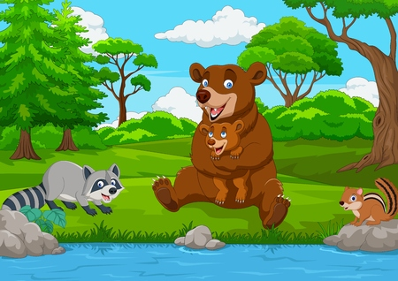 Familia de oso pardo de dibujos animados en el bosque